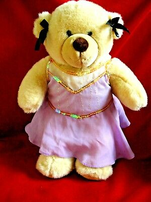 Build a Bear Workshop beige plush teddy bear BABW with Dress 15""