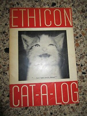 Vintage Ethicon cat-a-log and Infirmary booklets-1950-dog & cat medical humor
