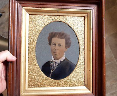 Antique Victorian Large Tintype Photo Woman Portrait hand painted Full Plate