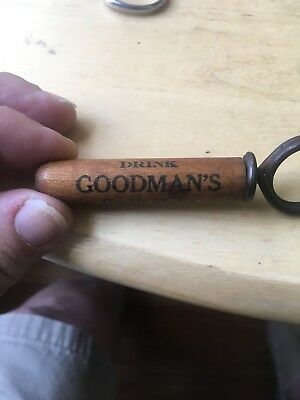 Rare Antique Cork Screw In Wood Case-Goodman's Double Stamp Whiskey Waco, TX.