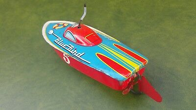 Vintage 1960's Wind Up Tin Plate Bluebird Boat Tin Toy Japanese