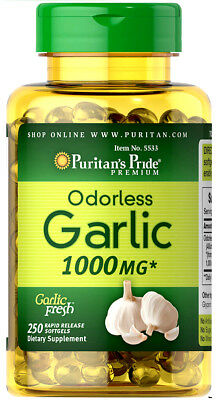 250 ODORLESS GARLIC Pills 1000mg Quality Softgels Capsules - Puritan's Pride