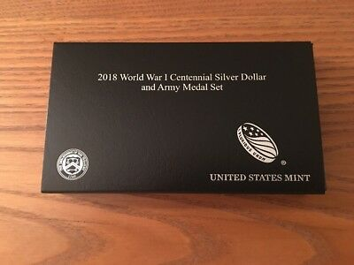 World War I Centennial 2018 Silver Dollar and Army Medal Set In Hand!!!
