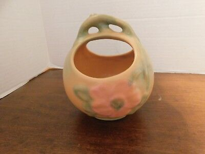 Vintage Weller Art Pottery Cameo Basket Wild Rose Vase Peach Color