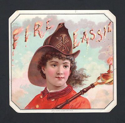1880s Lithographers Sample Cigar Label - Fire Lassie - Female Fire Fighter