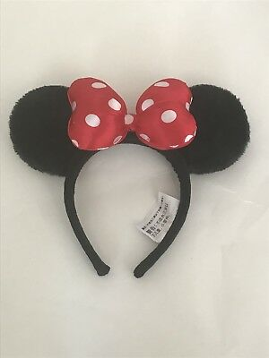 Disney Parks Youth Sized Minnie Mouse Ears Fluffy Headband Red and White Bow