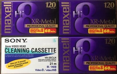 (1) Sony 8mm Cleaning Cassette+(3) Maxwell XR-Metal Hi8 Tapes - Video 8 Transfer