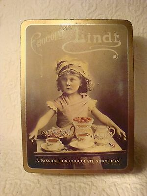 Vintage Chocolate Lindt Tin Can Retro Girl W/Serving Tray Advertising