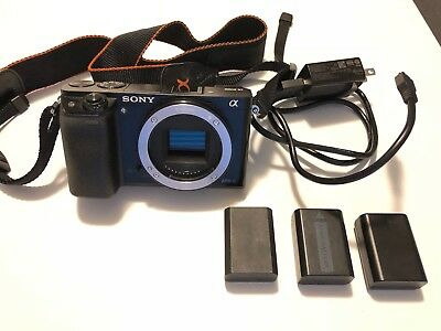 Sony Alpha a6000 24.3MP Mirrorless Digital Camera Black (Body Only) w/ Extras