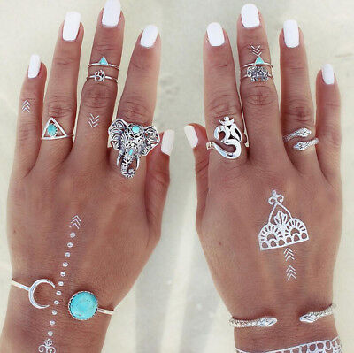 8Pcs Women Vintage Mid Ring Set Bohemian Punk Turquoise Joint Knuckle Nail Hot