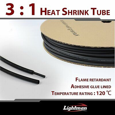"240"" Polyolefin Heat Shrink Tubing 3:1 Adhesive Glue Lined 1/4"" Diameter (Black)"