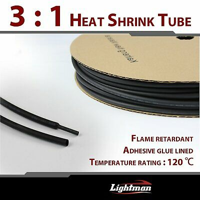 "Polyolefin Heat Shrink Tube 3:1 Black Adhesive Glue Lined 1/4"" Diameter 240"""