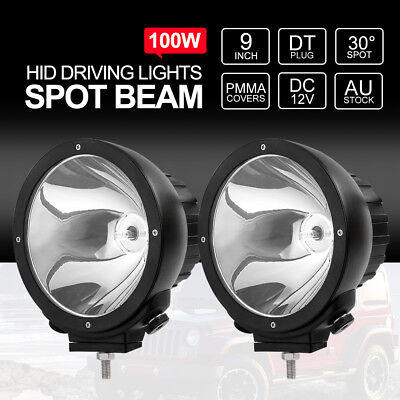 PAIR 9 inch 100W HID Driving Lights Xenon Off Road Spotlights 12V BLACK Aluminum