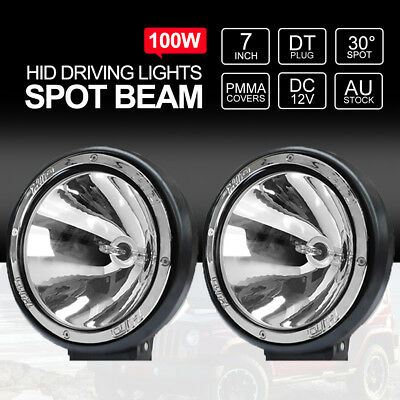 Pair 7 inch 100W HID Driving Lights Xenon Spotlights Offroad 4x4 Work 12V Silver