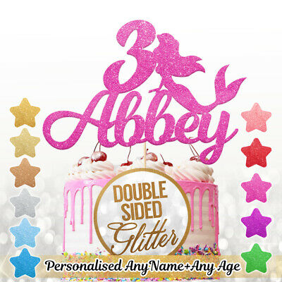 Personalised Mermaid Birthday Cake Topper Custom Name Age, Double Sided Glitter