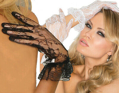 Elegant Moments Wrist Length Lace Gloves With Ruffle Trim One Size