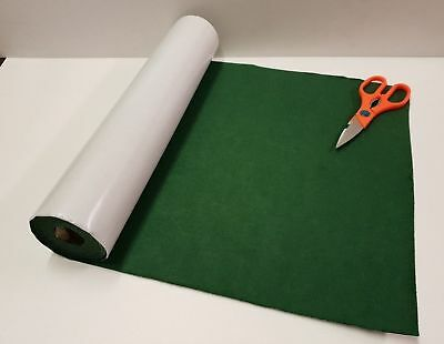 GREEN SELF ADHESIVE VELOUR / BAIZE / FELT 450mm x 1/2 metre FREEPOST