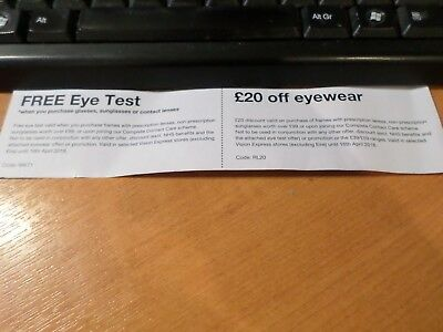 Vision Express Eye Test Voucher & £20 off Glasses when you spend £99 or more or