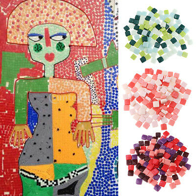 110x Square Shape Glass Mosaic Tiles Pieces for Art Kids DIY Crafts 12x12mm
