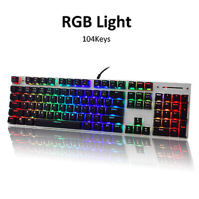 Backlit Anti-Ghosting Mechanical RGB LED 87 Keys Gaming Keyboard Blue Switches