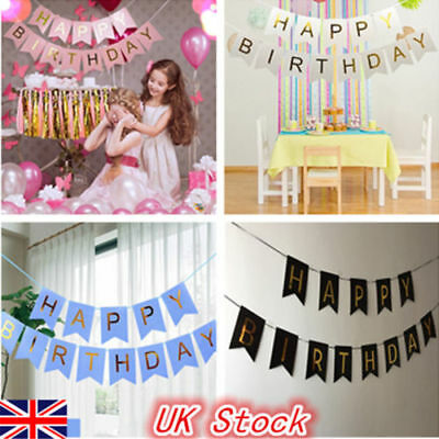 Pastel Happy Birthday Bunting Garland Flags Alphabet Party Hanging Banner Decor