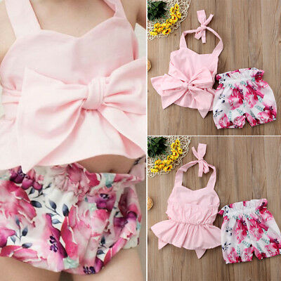 US Newborn Baby Kids Girls Backless Bowknot Tops Romper Floral Shorts Clothes