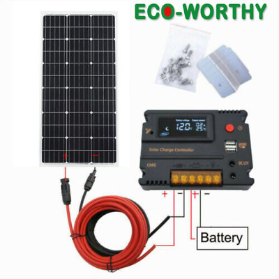 100W Solar Panel kit 12V battery Charge 10A/20A Controller Caravan Boat Home RV