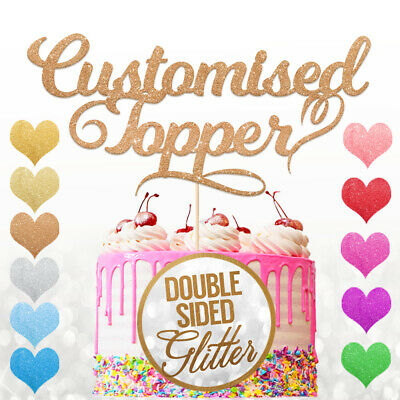 Personalised Custom Cake Topper Any Name Word Birthday Party Glitter Decoration