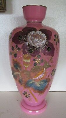 Rare Pink 1880 Antique Bohemian / French Opaline Floral Enamel Glass Vases
