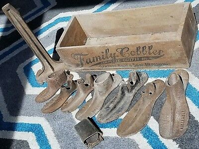 Antique Family Cobbler Complete Outfit # 4  Shoe Lasts Kit Wood Advertising Box
