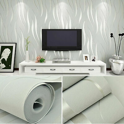 10m 3D Wave Stripe Non-woven Embossed Flocking Wallpaper Wall Paper Home Decor