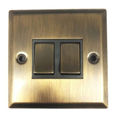Sale - Antique Brass Effect 2 Way 2 Gang  Double Light Switch 240V Mains