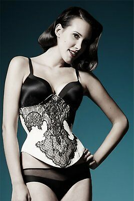 Hand made peach and black lace one-piece underbust corset
