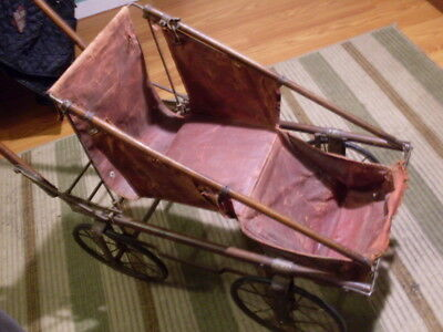 Rare Antique Victorian Wood & Metal Frame Baby Doll Carriage Buggy fold-down
