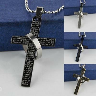 Men's Stainless Steel Prayer Cross Ring Pendant Ball Chain Necklace Punk Jewelry