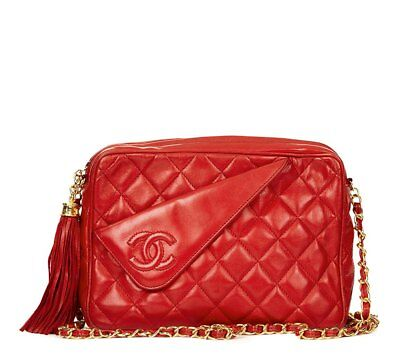 ec4bdd25e4bd Chanel Red Quilted Lambskin Vintage Timeless Fringe Camera Bag Hb1289