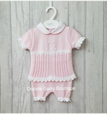 SALE - Baby Girls Gorgeous Pink Spanish Pretty Knitted Suits Peter Pan Collar ☆
