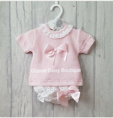 Baby Girls Gorgeous Pink Spanish Knitted Frill Collar & Ribbon Jam Suits ☆