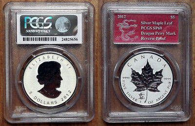 2012 Canadian Maple Reverse Proof. Dragon Privy. .999 Silver Coin. PSGC SP69.