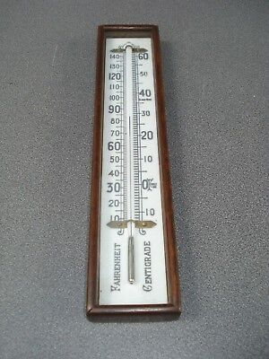 Aneroid Barometer Dark Oak Boxed Thermometer Surface Mount Milk Glass Scale