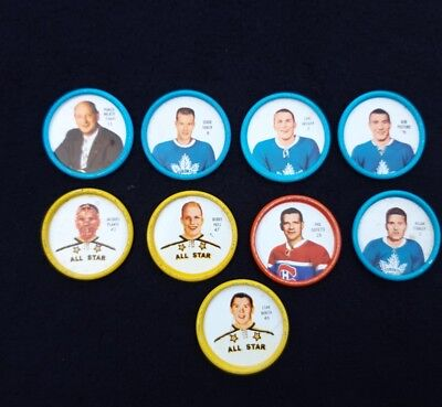 Shirriff Hockey Coins Lot Of 9 Plante Hull Mikita  Free Shipping
