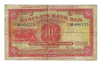 South West Africa 1956 10 Shillings Barclays Bank banknote F+.  MD-5166