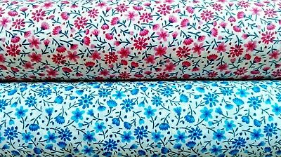 Polycotton Fabric Little Flowers /& Small Stems Leaves Floral Petal