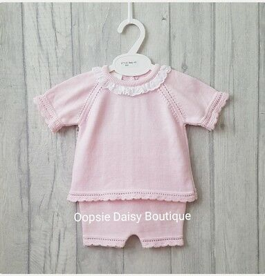SALE - Baby Girls Gorgeous Pink Spanish Knitted Frill Collar Suits upto 36mth
