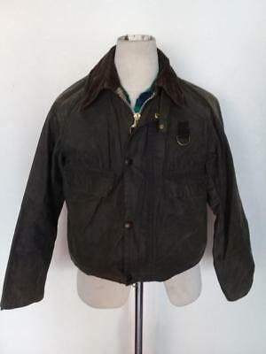 Mens BARBOUR Spey WAXED Fishing Jacket Green Size Small