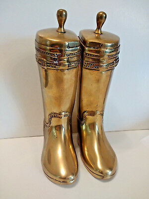 """Vintage Brass Book Ends Equestrian English Riding Boots 7.5"""" Solid Brass"""