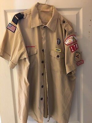 BOY SCOUTS Of America UNIFORM Shirt Scout Adult Mens VTG USA Sz X/LG