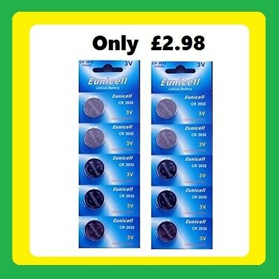 CR2032  (x 10) Long Lasting Power Eunicell 3 V Lithium button Cell Coin Battery