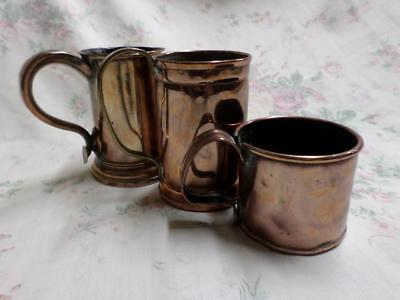 Set of Three Antique/Vintage Copper Mug And Tankards/Ale Cups