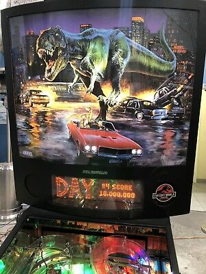 Jurassic Park The Lost World Pinball Machine By Sega With LED's & Mirror Blades